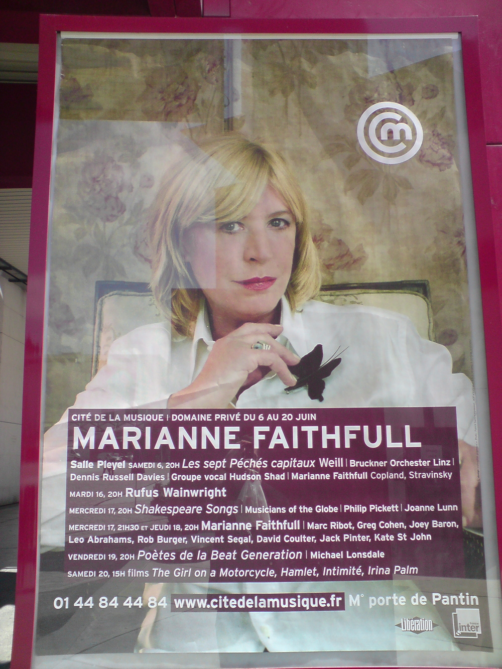 Poster for Marianne Faithfull Big Band gig, Cite de la Musique, Paris 2009
