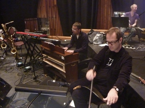 With Mike Smith at rehearsal for Carousel. My tribute show to Jacques Brel. Barbican 2010