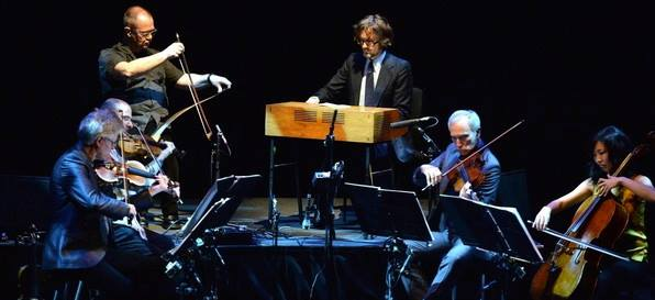 DC and Jarvis Cocker with Kronos Quartet playing KERF at Barbican Hall, 13 May 2014 (Photo by Mark Allen)