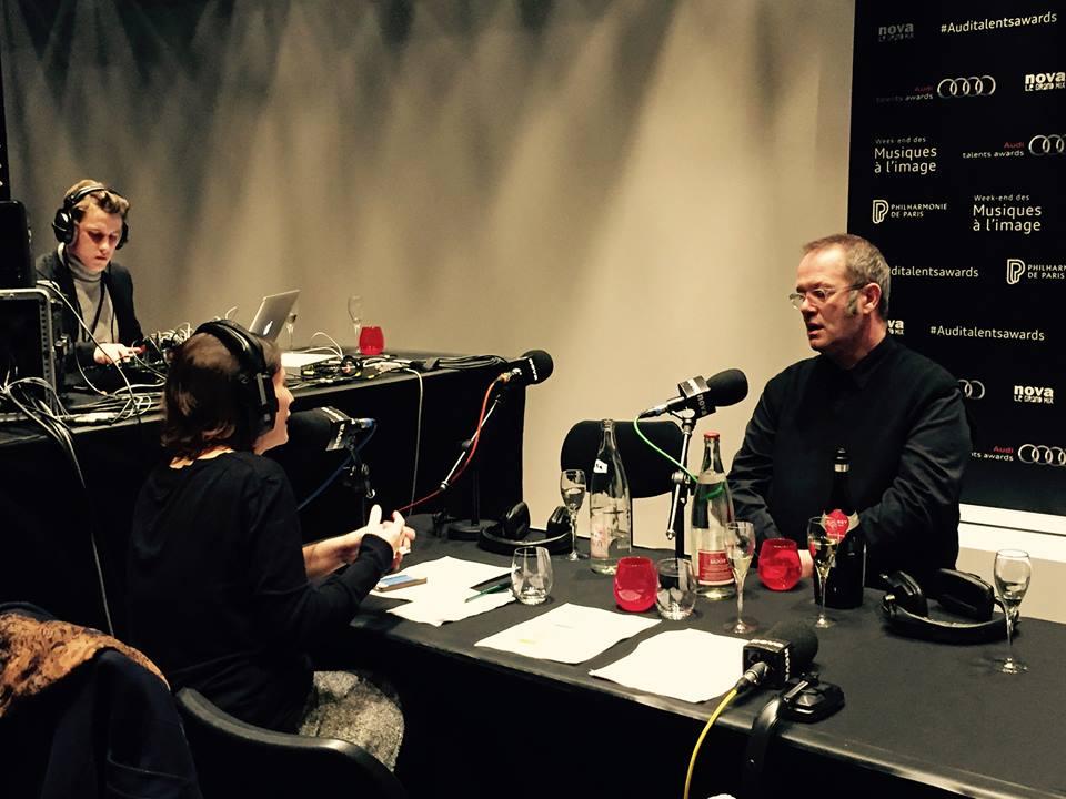 DC in Paris, being interviewed by Radio Nova at La Philharmonie de Paris