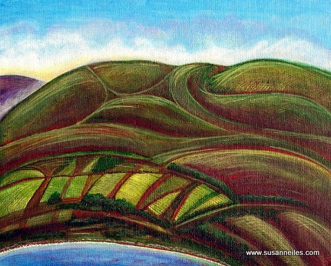View of Bere Island from Droum Woods, acrylic on canvas by Susanne Iles