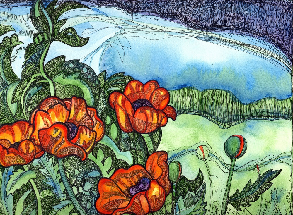 Poppy Fields, original artwork by Susanne Iles
