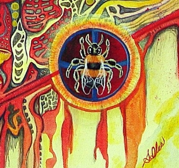 Because some scholars believe that the name Beowulf = Bee + wolf = bear, I chose to use the imagery of the sacred bee in this painting as it's long been a symbol of rebirth and immortality, light and truth.