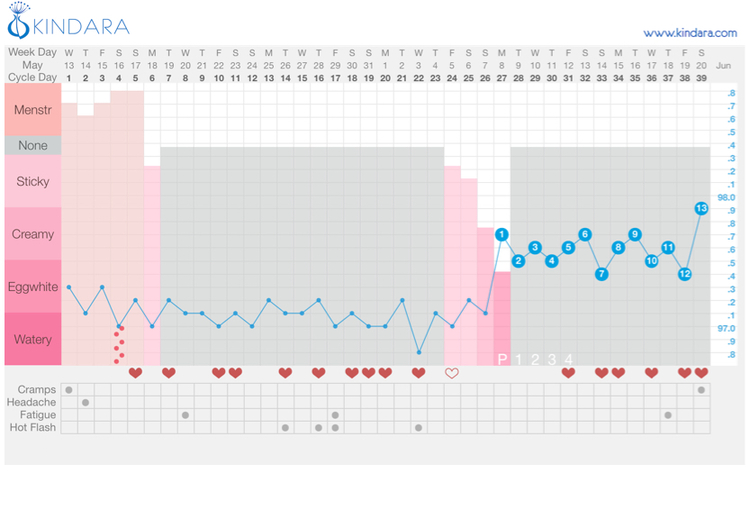 This perimenopausal woman experienced mostly dry days for the majority of her cycle until her fertile window opened on Day 24. She ovulated a few days later and then returned to her basic infertile pattern of dry days.