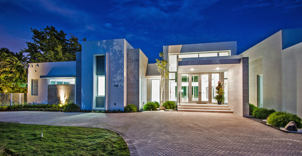 "Delray Beach beach area ""museum modern"" LEED certified by USGBC single family residence."