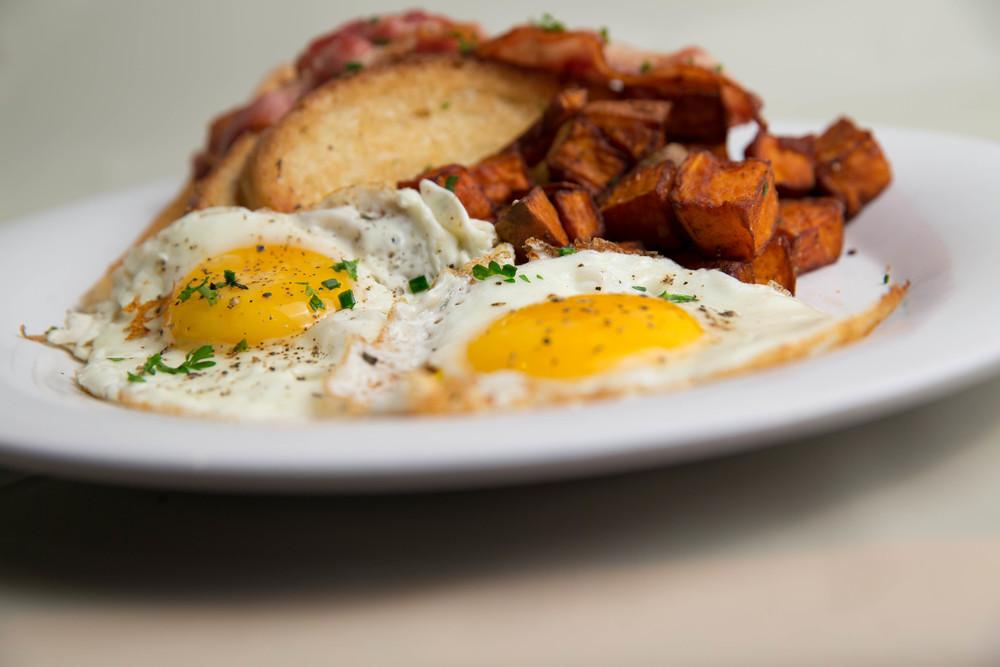 Classic Egg Breakfast w/ Toast & Sweet Potato Homefries