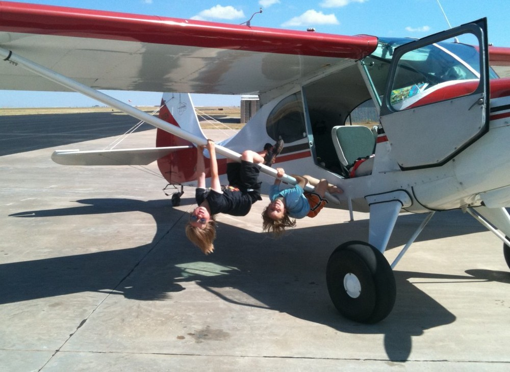 Charly and Jake testing out one of the airplanes