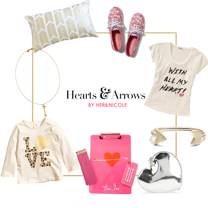 Shoes | Heart Tee | Arrow Bracelet | Heart Coin Purse | iPhone & Clipboard | Girl's Tee | Rebecca Minkoff Necklace | Throw Pillow