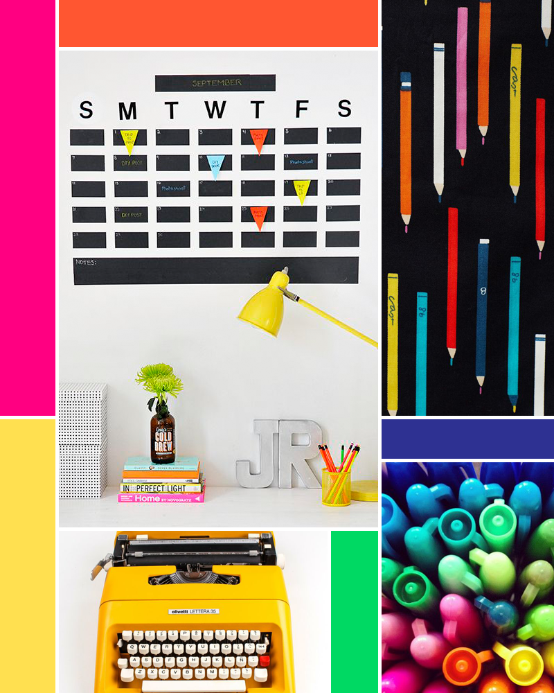 Moodboard: Back to School  sources:  Calendar/Desk  - I SPY DIY |   Yellow Tyewriter  - ElGranero |  Pencils  - Anthropologie  |  Sharpies  - PS I Made This