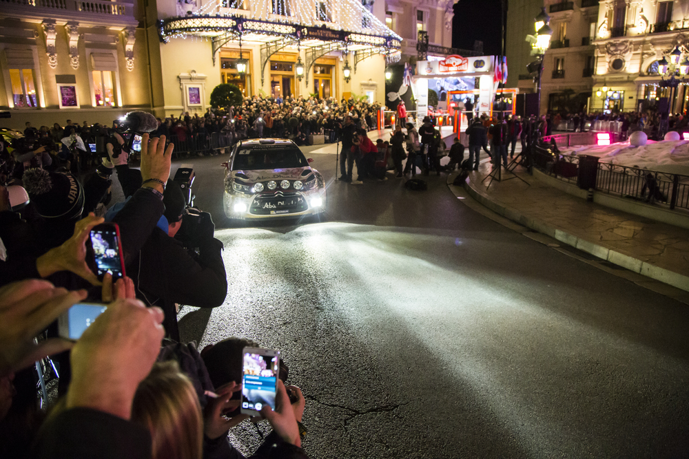 Monaco Casino square - Sebastian Loeb and Daniel Elena start 2015