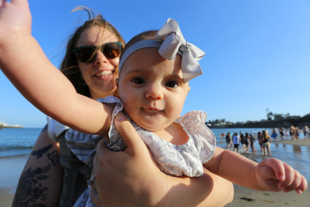 Mom and Margot at the beach