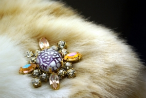 "Mag TAK ""CHICK MAGNET"" magnetic Bohemian Czech iridescent peach Rhinestones, lavender flower under glass dome with a black Leather Back"