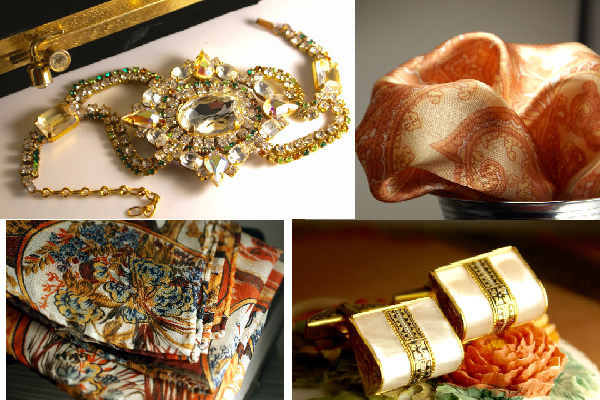 Elegant shades of orange. Vintage Czech rhinestone and crystal bracelet, sumptuous and sexy Paisley silk pocket scarf, Textured gauze silk pocket square with an incredible array of colors in a true vintage design, little Purse clutch shaped Antique mother of pearl damascene set of cufflinks.