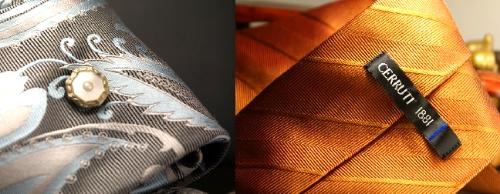 Woven silk Eggshell Blue necktie & Vintage Cerrutt necktie in woven textured burnt tangerine.