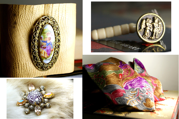 "Lizard textured leather cuff with vintage cameo, antique Victorian brass story button Mag TAK featuring a soldier and angel, Czech rhinestone ""Chick Magnet"" Mag TAK, and beautiful silk tie with vibrant painted look design in purple, brown and pink."