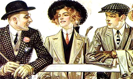 Sportswear and tailored fashions: Unfussy, tailored clothes were worn for outdoor activities and traveling. The shirtwaist, a costume with a bodice or waist tailored like a man's shirt with a high collar, was adopted for informal daywear and became the uniform of working women. Wool or tweed suit (clothing) called tailor-mades or (in French) tailleurs featured ankle-length skirts with matching jackets; ladies of fashion wore them with Fox furs and huge hats. Two new styles of headgear which became popular at the turn of the century were the motoring veil for driving and sailor hats worn for tennis matches, bicycling and croquet.