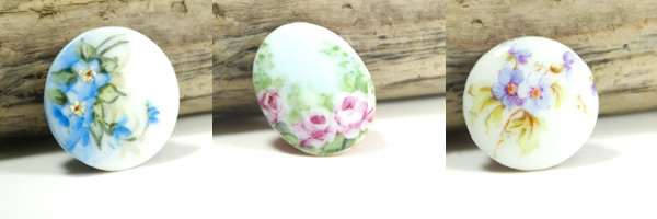 Our latest line is the Victorian Hand Painted Porcelain Button. Beautifully feminine and timeless design. Each artist's personal artistic style reflected in each design.