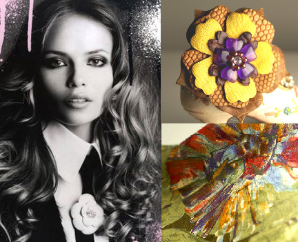 Silk pocket squares & leather magnetic leather flowers from our women's store: Woman's Renaissance