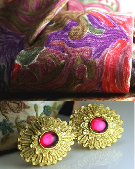 Scrumptious silk necktie in pinks and purples with amazing pink and gold cufflinks from our Etsy Stores.
