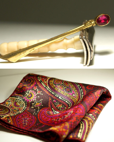 Antique fushia lapel pin and paisley pocket square from our Etsy store