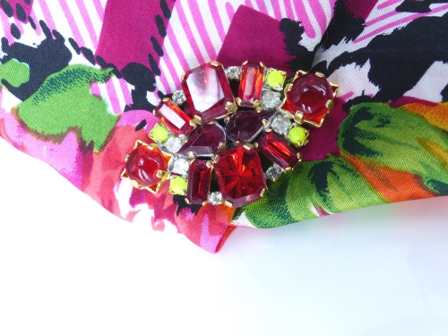 """Czech glass and rhinestone magnetic brooches and scarf clips """"Chick Magnets"""" Mag TAKs"""