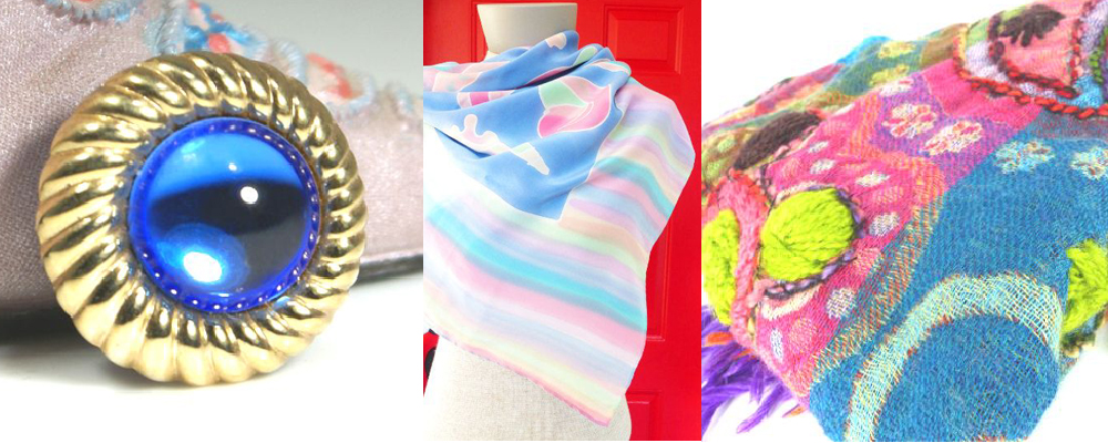 "Mag TAKs ""chick magnets, magnetic scarf pins, Yummy silk and hand embroidered scarves."