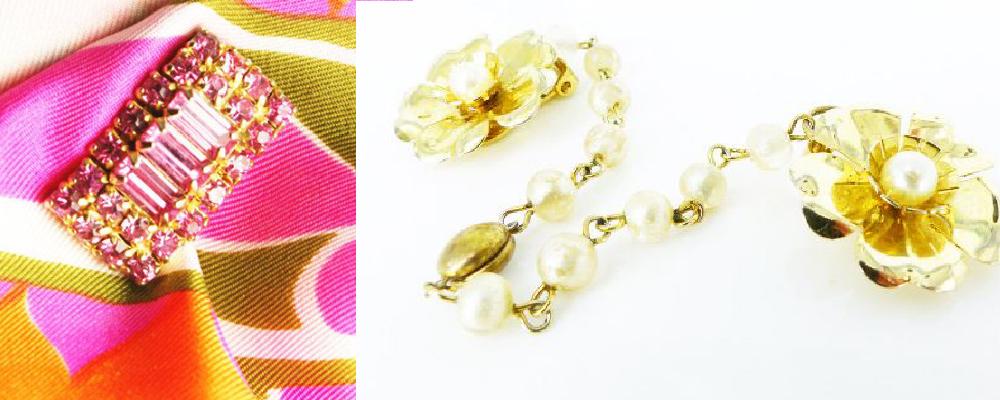"Hollywood glam pink baguette crystal Mag TAK ""chick magnet"", vintage floral pearl sweater clip"