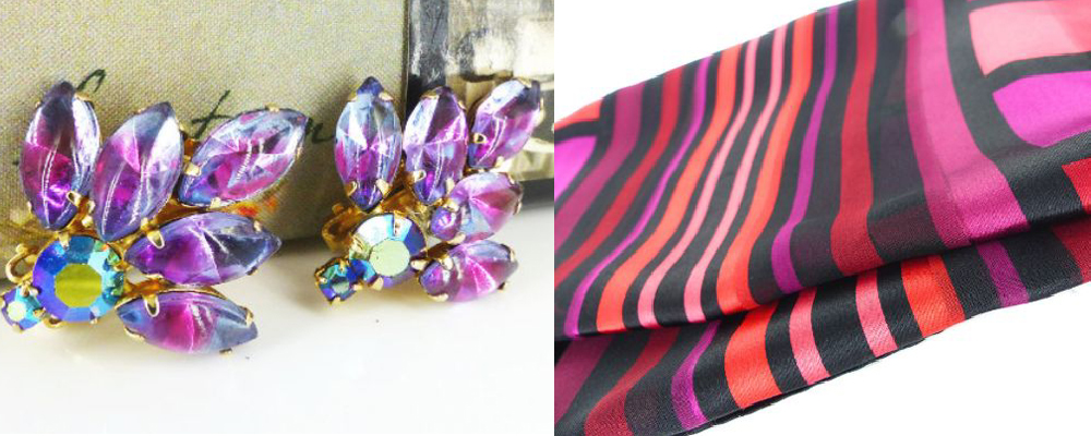 "Pristine Hollywood glam cluster earrings & designer silk scarves hand curated ""pick of the litter"""