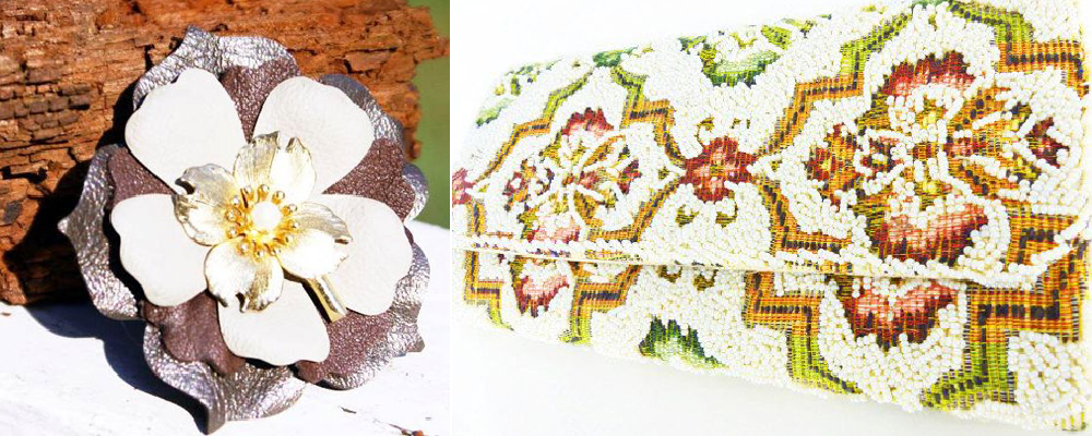 Handcrafted metallic leather Mag TAK floral brooch & Boho tapestry beaded clutch