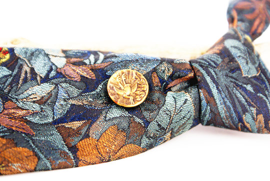 Vintage woven silk floral in blues and copper. Victorian antique copper crane bird Mag TAK magnetic tie tack shown.