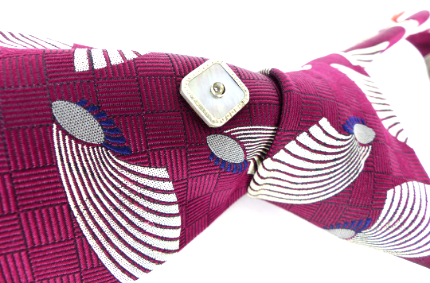 """Pick of the litter"" Talbott Studio for Nordstrom woven silk Mod necktie shown with an upcycled Mother of pearl antique Magnetic MagTAK tie tack"