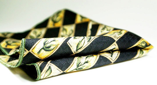 Textured silk pocket square with timeless design of floral bud in black and green.