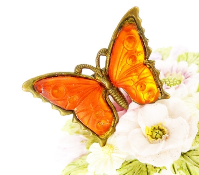 Antique brass little butterfly pin, frosted orange glass