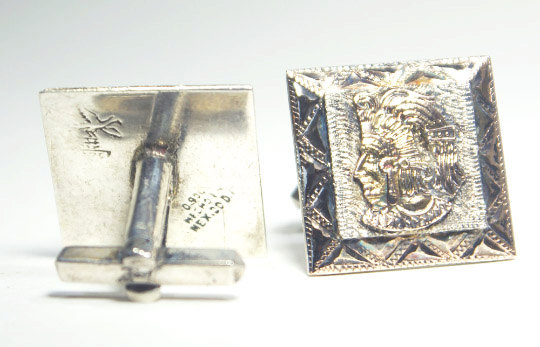 Rare collector sterling silver Aztec pair of cufflinks