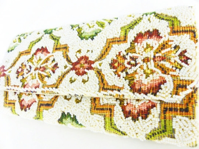 Beaded tapestry clutch purse