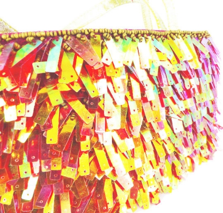 Total Twiggy Mod Shag rectangle sequin party purse. Iridescent sherbert colors