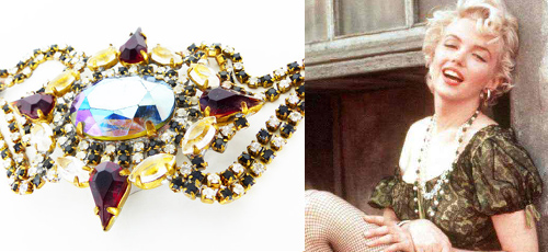Peasant blouse with a touch of glam. Shown above a Czech glass vintage crystal bracelet.