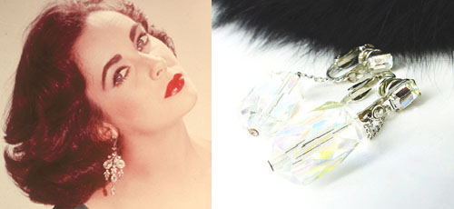 Glamorous cut crystal prism chain dangle earrings.