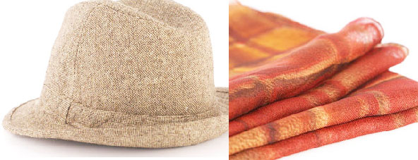 Brown tweed fedora with watercolor rust silk gauze pocket square