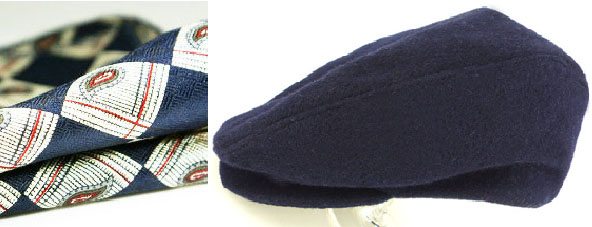 The Preppy angle: Navy wool cap with classic navy and gray paisley pocket square