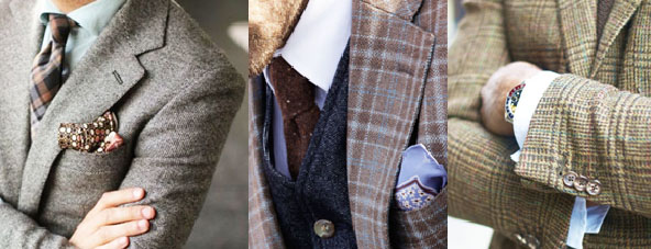 Great examples of coordinating textures, colors & prints. It is all about the details.