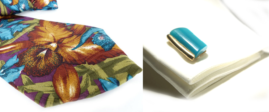Bearded Iris floral tie in rich shades of brown and aqua teal paired up with a pair of Mid Century modern pair of cufflinks by Woman's Renaissance.