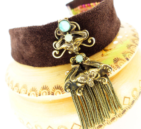 """Mag TAK™: Custom, handcrafted suede leather choker necklace with""""Chick Magnet"""" magnetic embellishment. Interchangeable & can be worn as a Scarf brooch, lapel brooch or hat pin."""