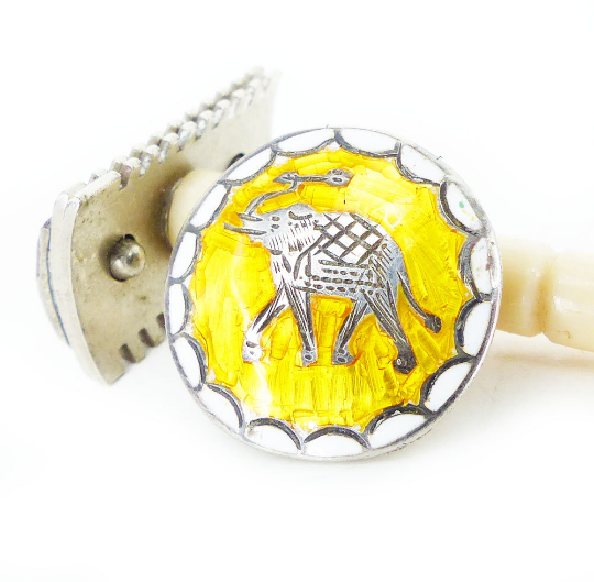 Lemon yellow enamel and silver elephant magnetic tie tack and lapel pin