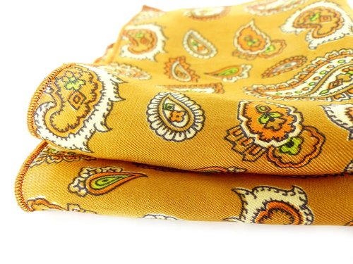 Gold & burnt orange mod paisley silk pocket square. Mr & Mrs Renaissance