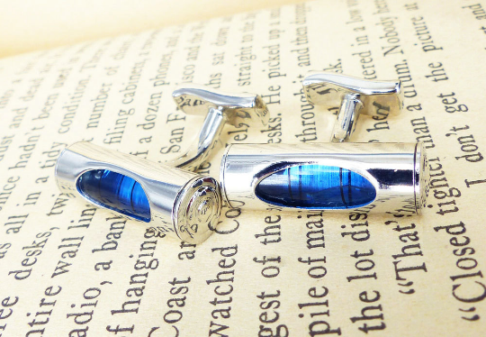Mechanical blue spirit level silver set of cufflinks. Rare & antique cufflinks MRM-accessories.com
