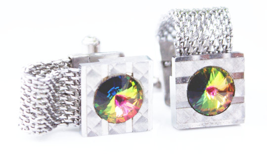 Watermelon crystal silver metal mesh wrap cufflinks. MRM-accessories.com