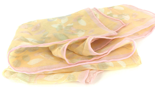 Peaches & Cream silk chiffon rose scarf with rolled hem. Retro perfection Mr & Mrs Renaissance @ MRM-accessories.com