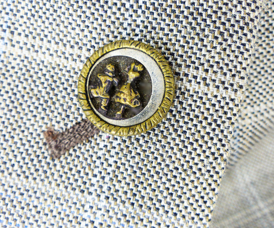 Victorian Brass & Steel miniature art upcycled Magnetic pin MagTAK