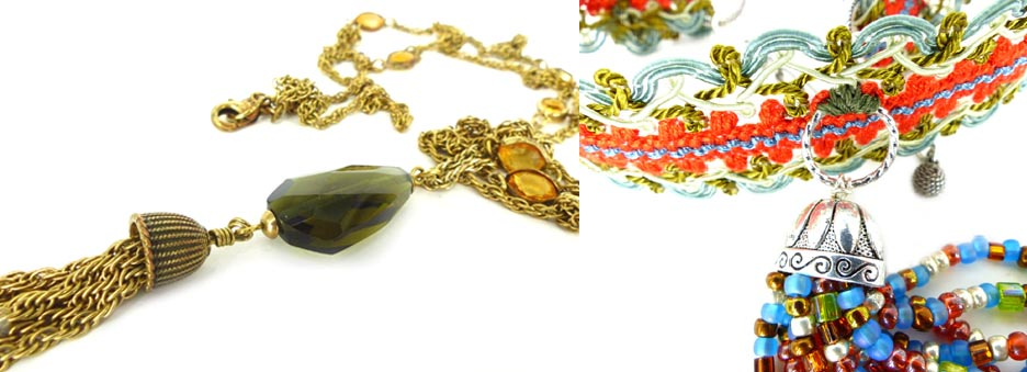 Very Gatsby antiqued gold and topaz tassel necklace & fun and funky hippie beaded choker